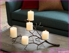 Graceful tree limb stretches realistic-looking branches of hand-wrought iron, studded with disks to support a flowering of pillar candles. Perfect for creating a warm, rustic and classic fall table. Lantern Candle Holders, Candle Stand, Candle Lanterns, Candle Sconces, Pillar Candles, Beeswax Candles, Ideas Candles, Cheap Candle Holders, Wrought Iron Candle Holders