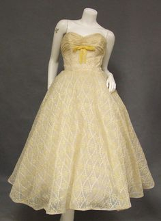6c11f2050db Vintage 1950 s Prom Dress AMAZING Cream   Yellow Embroidered Chiffon  Strapless Full Skirt
