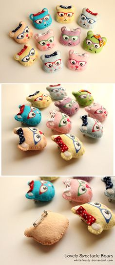 Lovely Spectacle Bears - Brooches by ~whitefrosty on deviantART