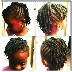 Natural little girls, Ji's hair for the week, African American hair, Mohawk, braids, two-strand twist.