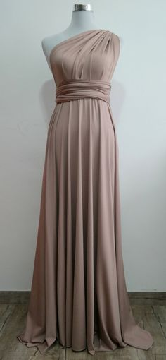 Questions? Call us Monday - Friday 6pm - 10pm CST at 1(312) 212-3724 LilZoo Full Length Convertible Infinity MultiWay Wrap Dress in Light Brown This