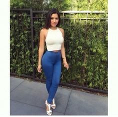 White Halter top blue pants white heels
