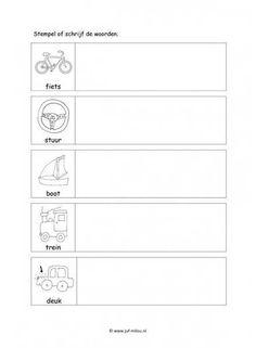 Werkblad verkeer - Woorden stempelen