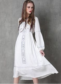 Cotton Linen Long Sleeve Mid-Calf Casual Embroidery Dresses (1015901) @ floryday.com