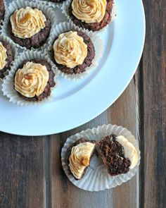 Dark Chocolate Cupcakes with Peanut Butter Cream Cheese Frosting - The Lemon Bowl