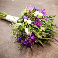 Lime green and purple colour schemed flowers