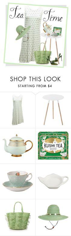 """Green Tea Contest"" by petalp ❤ liked on Polyvore featuring Carve Designs, Yamazaki, Prouna, Kusmi Tea, Royal Albert, Crate and Barrel, Sensi Studio, Sunday Afternoons, dress and tea"