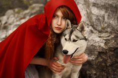 Little Red Riding Hood and the Big Bad Wolf. The best Halloween costume idea ever for us Siberian Husky Furmommys!!