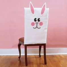 """Bunny Chair Covers; I've also added non-sew info at """"***"""" below.  > Easy how-to & pdf for the face/ears (works at time of original pinning)  > Since I don't know the chair size,  I will choose to round off the top, leave sides open & add velcro strips to tighten around bottom.   > ***Easy way for Non sewers = cut out & glue on face/ears from felt onto a plain, white pillow case :)"""