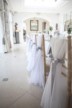 Chair Sash Ribbon Modern Classic Grey White Chic Elegant Wedding http://www.chanelleknapp.com/