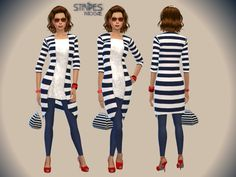 Stripes outfit by Paogae at TSR via Sims 4 Updates