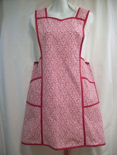 Great 1940's Plus Size Style H-Back Bib Apron From 1940's Vintage Pattern. New construction, professionally done! I have one of these ~ it's been beautifully done and is a great fit for Plus Size Cooks!