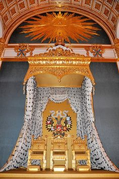 NIKOLAY II'S CORONATION - For this celebration Nikolay II ordered three thrones: one for himself, two others for his mother and his wife. The coronation took place in Moscow Kremlin. The thrones are still kept there but in the days of Russian President's inauguration they are taken away to prevent unnecessary comparisons.
