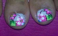 Pies                                                                                                                                                                                 Más Pedicure Designs, Toe Nail Designs, Toe Nail Art, Toe Nails, Summer Toe Designs, Pedicure Nails, Pretty Toes, Nail Arts, Finger