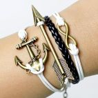 Anchor mens bracelets- infinit bracelets   arrow bracelet for men and women ,adjustable length