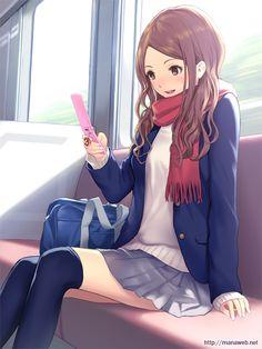 ✮ ANIME ART ✮ anime. . .school uniform. . .blazer. . .pleated skirt. . .school bag. . .scarf. . .cellphone. . .smile. . .train. . .cute. . .kawaii