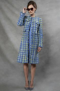 Blue and Lime Check Tweed Coat - Carlotta Classy Work Outfits, Cool Outfits, Fashion Outfits, Coats For Women, Jackets For Women, Clothes For Women, Tweed Chanel, Chanel Style Jacket, Boucle Jacket