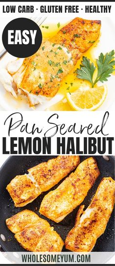 This pan seared halibut recipe with lemon butter sauce takes just 20 minutes. which you'd never guess with how fancy pan fried halibut looks. I'll show you how to pan sear halibut, plus how to make the perfect sauce for halibut. Fish Dishes, Seafood Dishes, Seafood Recipes, Seafood Boil, Lunch Recipes, Cooking Recipes, Healthy Recipes, Pan Seared Halibut Recipes, Butter