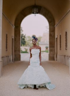 This #bride wore a #whimisical blue dress with a unique hairpiece! Photo by Elizabeth Messina on The Brides Cafe.