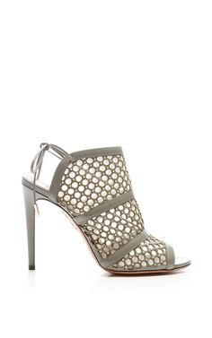 Blondie Studded Leather and Mesh Sandals by Aquazzura - Moda Operandi