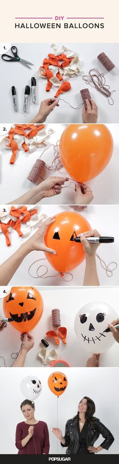 Want to spice up your Halloween home decor? Try making these DIY Halloween balloons that come together in a matter of minutes. Halloween Home Decor, Halloween House, Holidays Halloween, Spooky Halloween, Halloween Treats, Happy Halloween, Halloween Decorations, Adornos Halloween, Halloween Disfraces