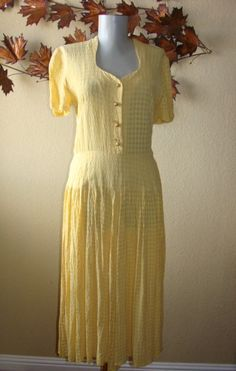 Vintage Mid Century Sheer Window Pane Yellow Sears by BFRretro.  Vintage Clothing, Shoes and accessories sold at https://www.etsy.com/shop/BFRretro?ref=hdr_shop_menu #YellowWindowPaneMidCenturyDress #VintageDressSearsSucker