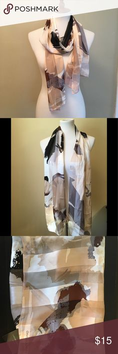 """Cynthia Rowley silk scarf 100% silk scarf by Cynthia Rowley . Cream, black, brown, peachy nudes make this a beautiful addition to a neutral outfit . Measures 14""""W, 66"""" L. Cynthia Rowley Accessories Scarves & Wraps"""