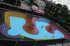 Graffiti artist Jan Is De Man recently created a new mural installation at the Skatepool Griftpark. He designed and discussed his plans with the local skaters. Using matte non-slip paint, so the sk…