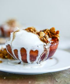 Caramelized Peaches and Coconut Cream with a Toasted Crumble I howsweeteats.com