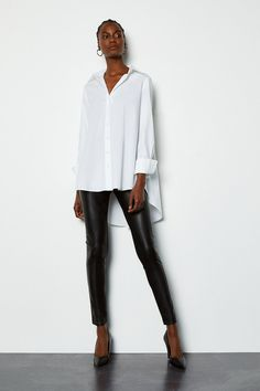 Faux Leather and Ponte Legging Spanx Faux Leather Leggings, Outfits With Leather Leggings, Outfit Ideas With Leggings, Legging Outfits, Winter Fashion Outfits, Fall Outfits, Casual Outfits, White Outfits For Women, Feminine Fashion