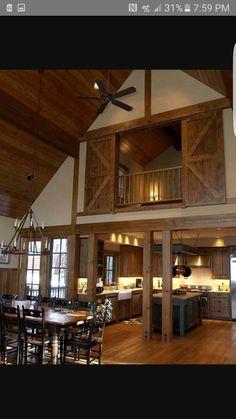 Moms Loft: This is a cleaner, bigger look. Diggin the barn door privacy panels for the master bedroom or loft-SR Mezzanine Bedroom, Bedroom Loft, Mezzanine Loft, Barn Loft Apartment, Loft Playroom, Loft Wall, Loft Apartments, Bedroom Balcony, Attic Bedrooms
