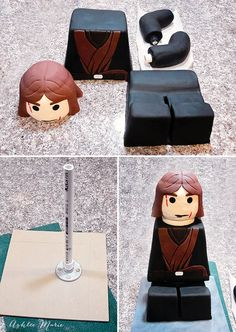 a tutorial for creating your own sitting Lego Cake, will work for any character, this one is Star Wars, Anakin Skywalker