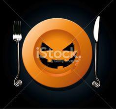 Vector of Halloween pumpkin plate Royalty Free Stock Vector Art Illustration