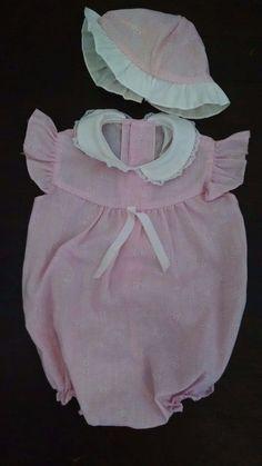 Vtg Baby Girl Bubble Romper Hat 0-3M Pink Floral Flutter Sleeves Ruffles Doll #Unbranded #DressyEverydayHoliday