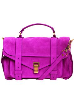 Purple Medium PS1 Suede Satchel, Proenza Schouler.