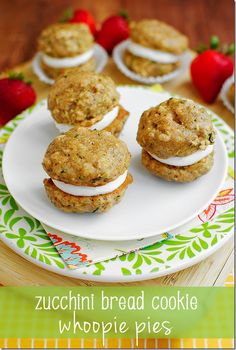 Zucchini Bread Cookie Whoopie Pies. Totally decadent tasting, but surprisingly healthy! #dessert #summer