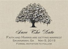 Savannah wedding Save the Date Cards Wedding Live oak tree by PaperMyDay, $38.00