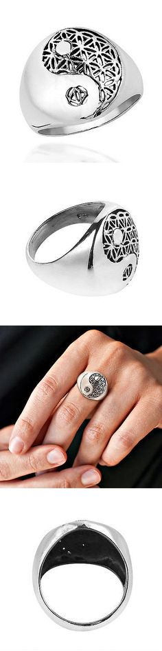 Rings 110666: Handmade Yin Yang Balance Flower Of Life .925 Sterling Silver Ring (Thailand) -> BUY IT NOW ONLY: $35.54 on eBay!