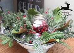 A Farmhouse Christmas-from The Everyday Home. Shut up. So cute with the enamel colander.