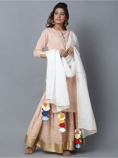 Blush Pink White Cotton Sharara Suit - Set of 3 Stylish Dress Designs, Designs For Dresses, Stylish Dresses, Indian Designer Outfits, Indian Outfits, Kurta Designs, Blouse Designs, Scarf Design, Indian Ethnic Wear