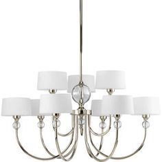 Progress Lighting�Fortune 9-Light Polished Nickel Chandelier Polished nickel finish Opal etched glass 31 -inDiameter x 15-3/8 -inHeight Uses (9) 60-watt candelabra (G16.5) bulbs (not included) Includes (1) 6 -inand (4) 12 -instems and 6 -inchain (chain can be shortened prior to installation)