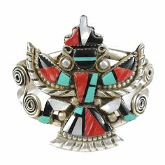 VINTAGE ZUNI KNIFEWING STERLING SILVER TURQUOISE ONYX CORAL CUFF BRACELET - $525.