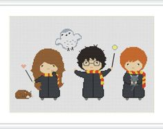 Counted Cross Stitch Pattern Harry Potter Harry Ron Hermione Gryffindor Needlecraft PDF Format Instant Download X089