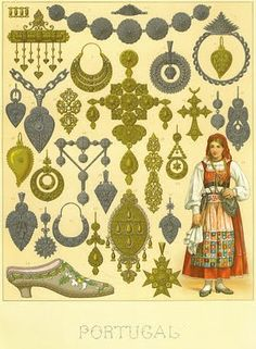 Ourivesaria portuguesa oitocentista - Old illustration with Viana do Castelo Portuguese craft - Portuguese filigrana metal craft Minho, Folk Costume, Costumes, Portuguese Culture, Posters Vintage, Ethno Style, Auguste, Arte Popular, Azores