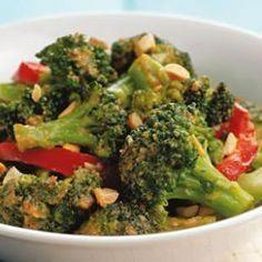 Spicy Stir-Fried Broccoli & Peanuts-  don't use the sugar in the recipe