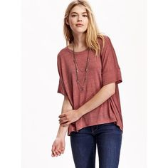 Old Navy Womens Oversized Drop Shoulder Tees ($15) ❤ liked on Polyvore featuring tops, t-shirts, petite, red, jersey tee, relaxed fit t shirts, petite tops, lightweight t shirts and red tee