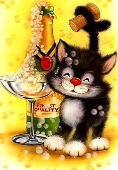 Bad Cats, Crazy Cats, Cute Images, Cute Pictures, Alice In Wonderland Party, Cat Colors, Vintage Greeting Cards, Christmas Cats, Whimsical Art