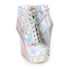 432b7271408 Silver Iridescent Lace Up Sneaker Wedges Faux Leather