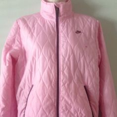 """Nike's Kids Pink Jacket - size M 8-10 This is a Nike atheletic kids  pink jacket in size medium 8-10. Preowned still in good condition. From shoulder to bottom of the jacket : 25"""". Armpit to armpit : 20"""". Any question please contact me thank you. Nike Jackets & Coats"""