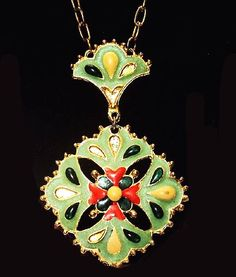 Red Green Enamel Pendant Necklace by BrightgemsTreasures on Etsy
